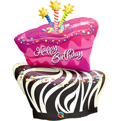 "Funky Zebra Birthday Cake Supershape Balloon - 41"" Foil"