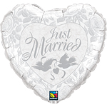"Just Married White & Silver Doves Wedding Balloon - 36"" Foil"