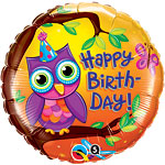 "Happy Birthday! Owl Balloon - 18"" Foil"