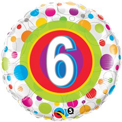 "Colourful Dots 6th Birthday Balloon - 18"" Foil"