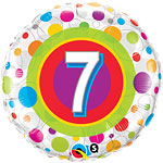 "Colourful Dots 7th Birthday Balloon - 18"" Foil"