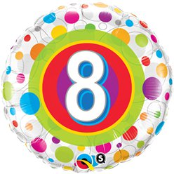 "Colourful Dots 8th Birthday Balloon - 18"" Foil"