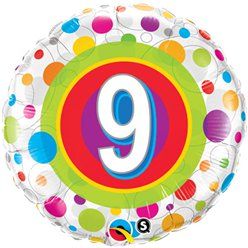 "Colourful Dots 9th Birthday Balloon - 18"" Foil"