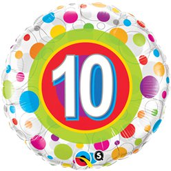 "Colourful Dots 10th Birthday Balloon - 18"" Foil"