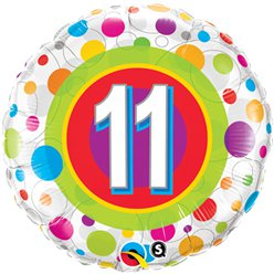 "Colourful Dots 11th Birthday Balloon - 18"" Foil"