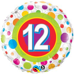 "Colourful Dots 12th Birthday Balloon - 18"" Foil"