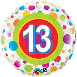 "Colourful Dots 13th Birthday Balloon - 18"" Foil"