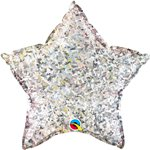 "Holographic Silver Star Shaped Balloon - 20"" Foil"