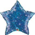 "Holographic Jewel Blue Star Shaped Balloon - 20"" Foil"