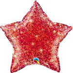 "Holographic Jewel Red Star Shaped Balloon - 20"" Foil"