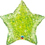 "Holographic Jewel Lime Star Shaped Balloon - 20"" Foil"