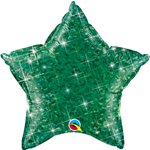 "Holographic Jewel Green Star Shaped Balloon - 20"" Foil"