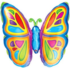 "Bright Butterfly Supershape Balloon - 25"" Foil"