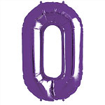 "Purple Number 0  Balloon - 34"" Foil"