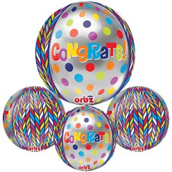 "Dotty Geometric Congratulations Orbz Balloon - 16"" Foil"
