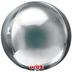 Silver Birthday Orbz Balloon - 25