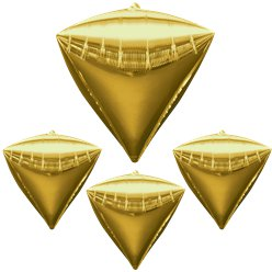 "Diamondz Gold Diamond Shaped Balloon - 24"" Foil - unpackaged"