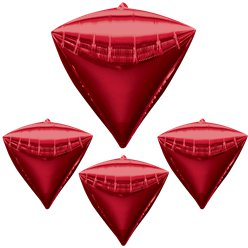 "Diamondz Red Diamond Shaped Balloon - 24"" Foil - unpackaged"