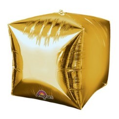 "Cubez Gold Cube Shaped Balloon - 15"" Foil - unpackaged"