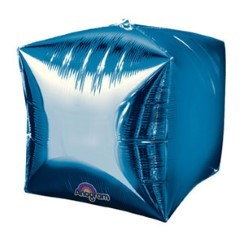 "Cubez Blue Cube Shaped Balloon - 15"" Foil - unpackaged"