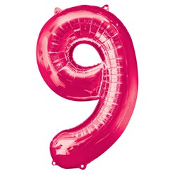 "Pink Number 9 Balloon - 34"" Foil"