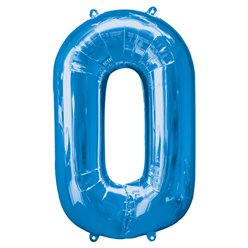 Blue Number 0 Balloon - 34
