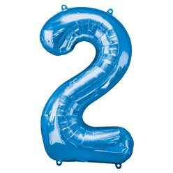 "Blue Number 2 Balloon - 34"" Foil"