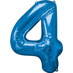 Blue Number 4 Balloon - 34
