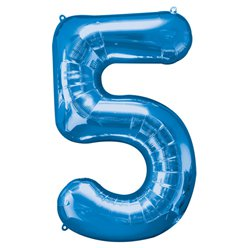Blue Number 5 Balloon - 34
