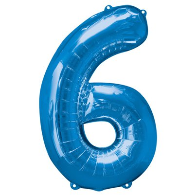 "Blue Number 6 Balloon - 34"" Foil"