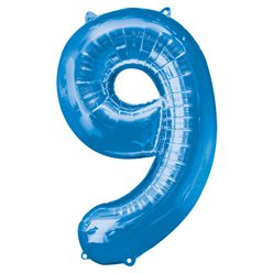 "Blue Number 9 Balloon - 34"" Foil"