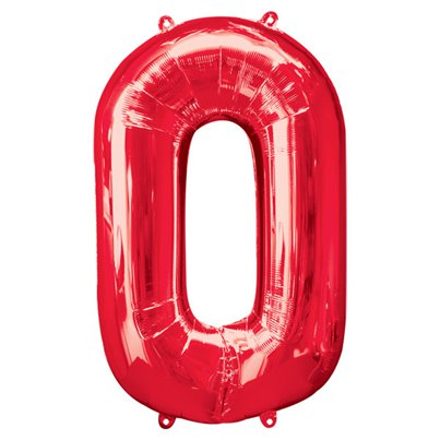 "Red Number 0 Balloon - 34"" Foil"