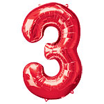 "Red Number 3 Balloon - 34"" Foil"