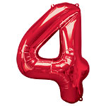 "Red Number 4 Balloon - 34"" Foil"