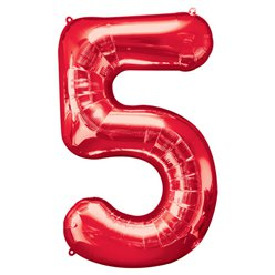 "Red Number 5 Balloon - 34"" Foil"