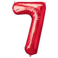 "Red Number 7 Balloon - 34"" Foil"