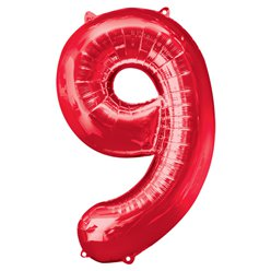 "Red Number 9 Balloon - 34"" Foil"