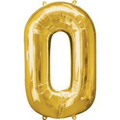"Gold Number 0 Balloon - 34"" Foil"