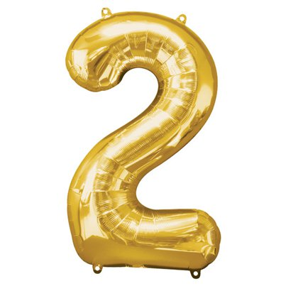 "Gold Number 2 Balloon - 34"" Foil"