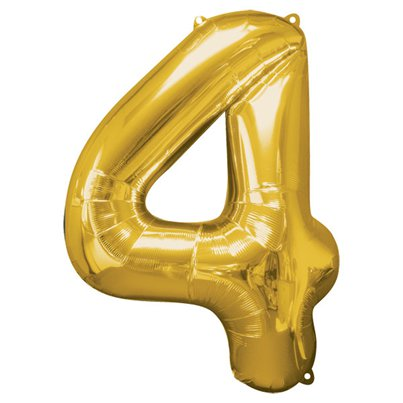 Gold Number 4 Balloon - 34