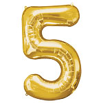 "Gold Number 5 Balloon - 34"" Foil"