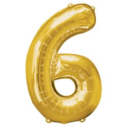 "Gold Number 6 Balloon - 34"" Foil"