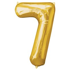 "Gold Number 7 Balloon - 34"" Foil"