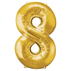 Gold Number 8 Balloon - 34