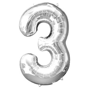 Silver Number 3 Balloon - 34