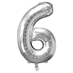 Silver Number 6 Balloon - 34