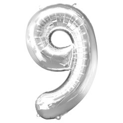 "Silver Number 9 Balloon - 34"" Foil"