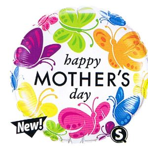 "Happy Mother's Day Vivid Butterflies Balloon - 18"" Foil"