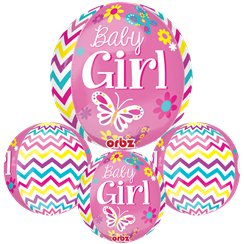 "Beautiful Baby Girl Orbz Balloon - 25"" Foil"