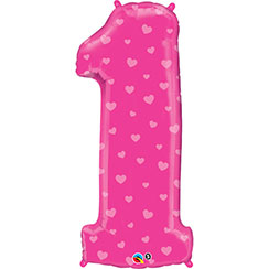 "Number 1 Pink Hearts Balloon - 38"" Foil"